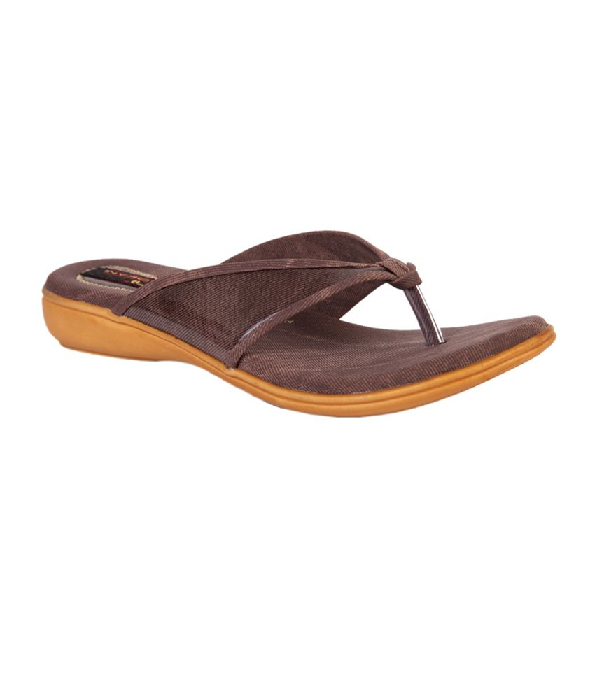 Trilokani Brown Synthetic Comfertable Women's Slipper