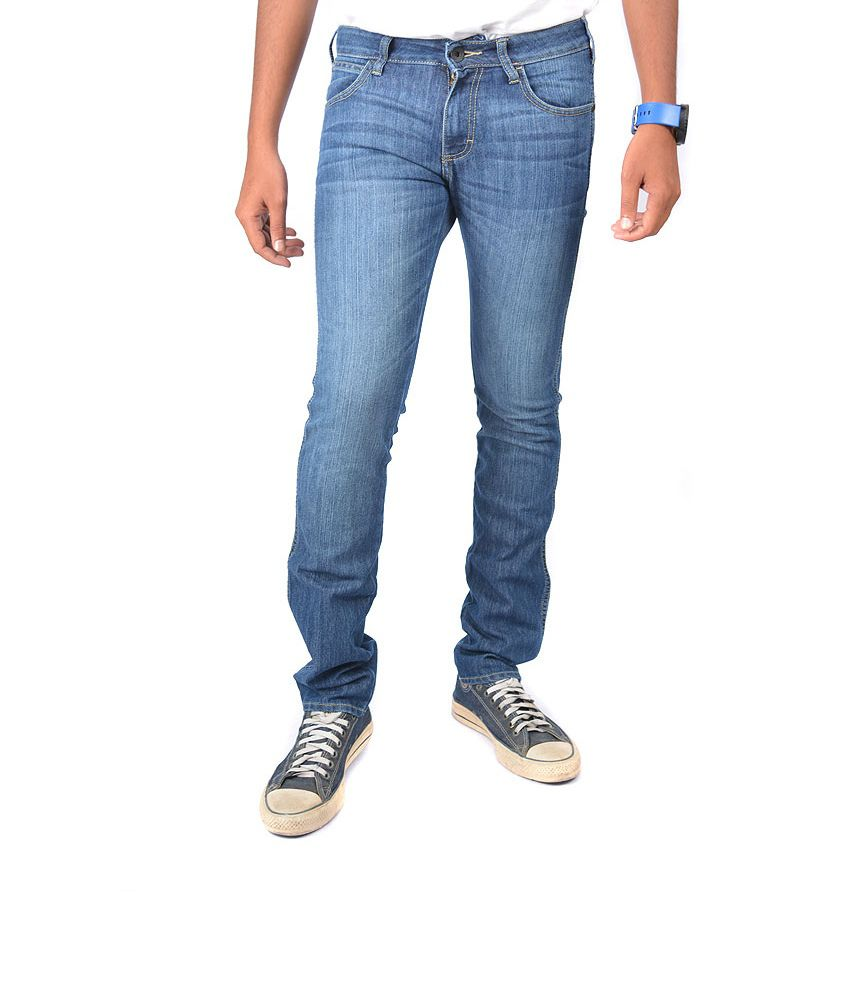Wrangler Blue Cotton Slim Faded Jeans