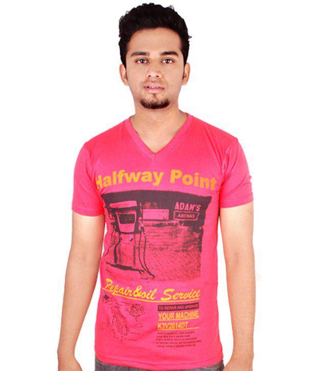 Adam's Red Printed Cotton T-shirt