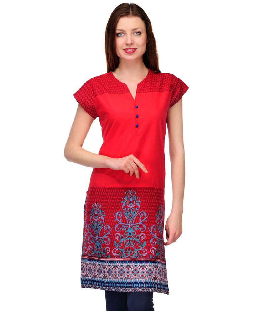 Prafful Red Cotton Half Sleeve Printed Kurti