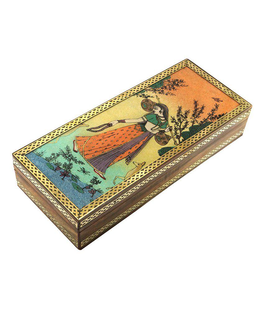 R S Jewels Wooden Gemstone Meera Painting Wooden Jewellery Box