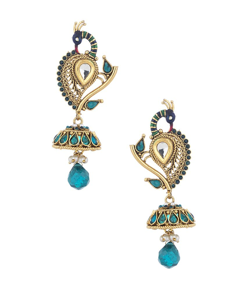 Voylla Peacock Jhumki Drop Earrings With Green Color Stones