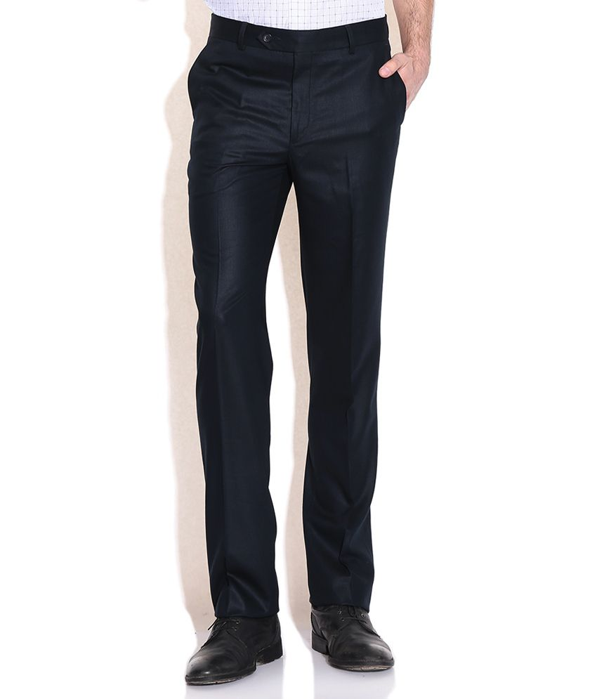 Wills Lifestyle Navy Slim Fit Formal Trousers