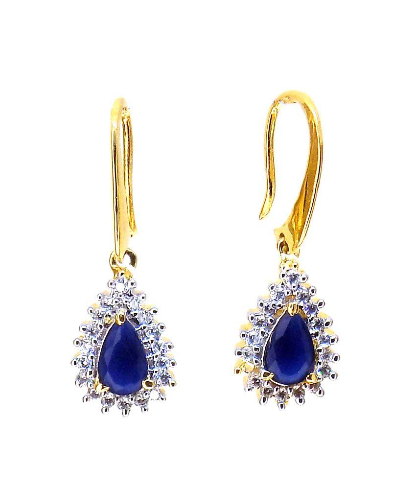 Aabhushan Jewels American Diamond Sapphire Look Gold Plated Drop Earrings For Women