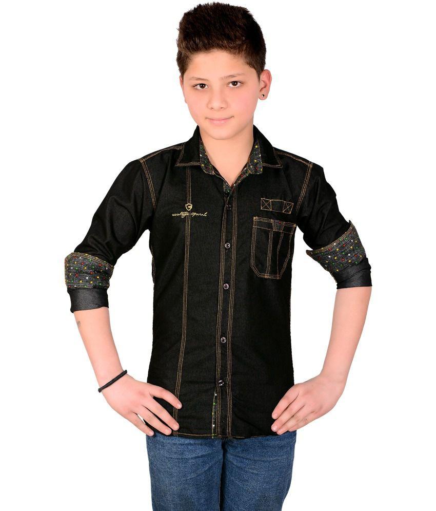Aedi black denim shirt for boys buy aedi black denim for Buy denim shirts online