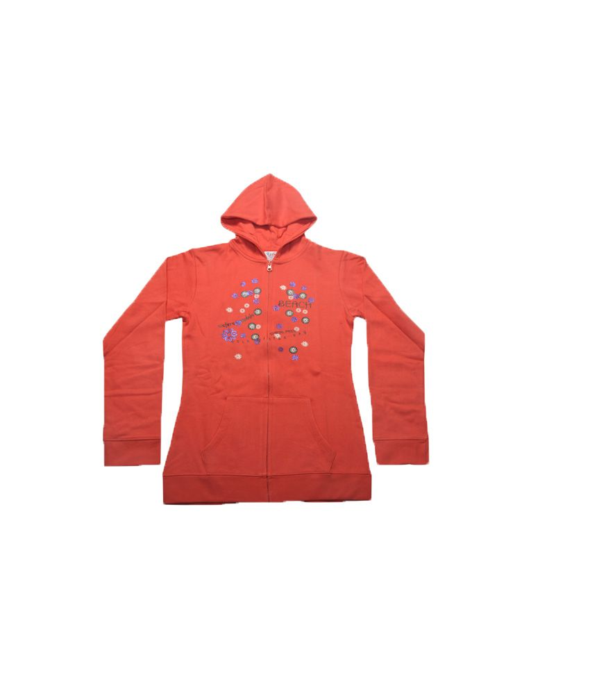 Bg Casual Red Cotton Hooded Sweatshirt For Girls