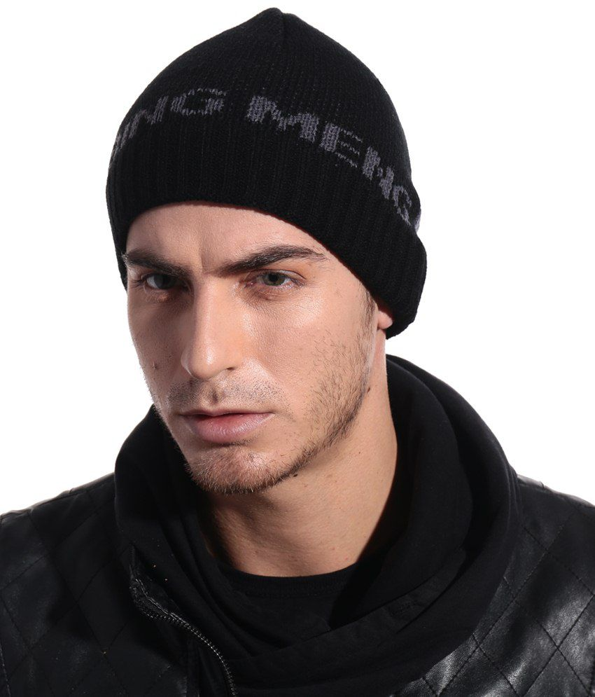 Bizarro.in Nice Looking Black Woollen Cap For Men