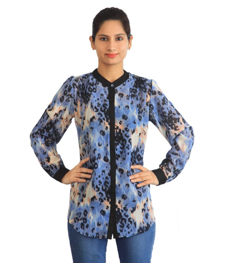 Faustina Blue Polyester Tops