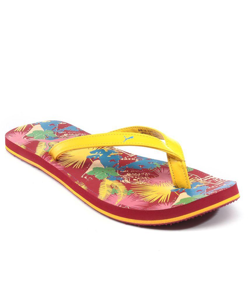 Puma Red Flip Flops