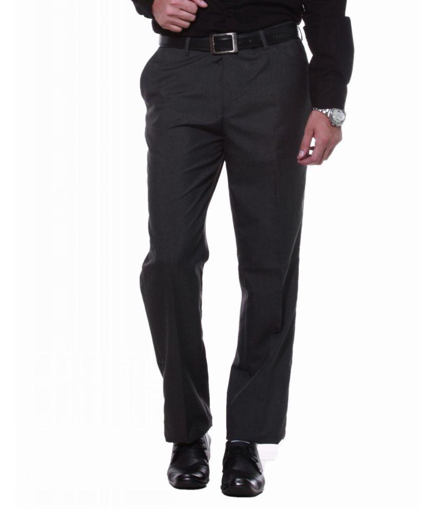 Sangam Apparels Charcoal Slender Slim Fit Formal Trousers