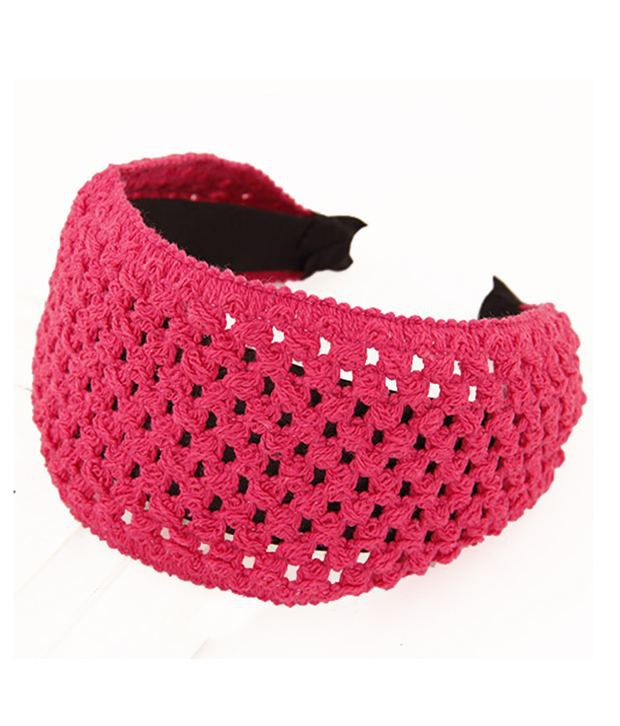 Jewel Touch Plum Red Crochet Pattern Simple Design Hair Band Buy