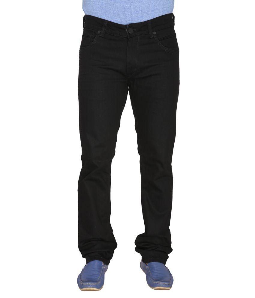 Leonidas Black Cotton Slim Men's Jeans