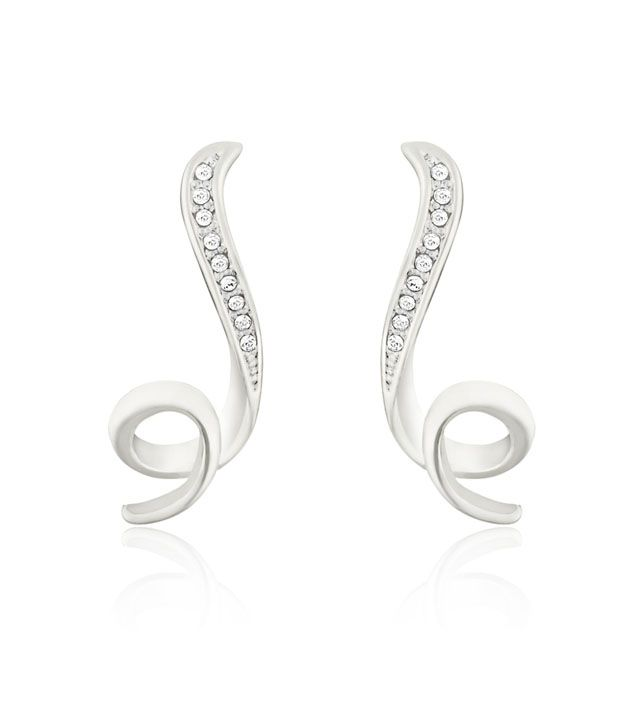 Mahi Gold plated Shinning Loop Earrings with white Crystals for Women ER1191763RWhi