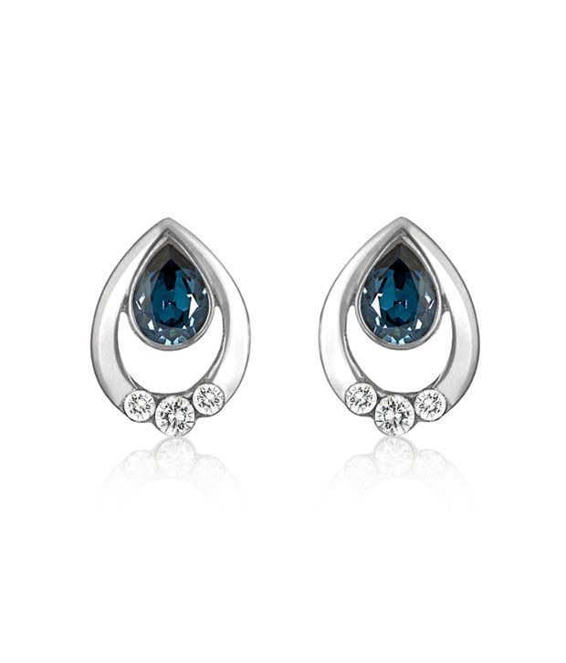 Mahi Rhodium Plated Pretty Silver Drop Earrings