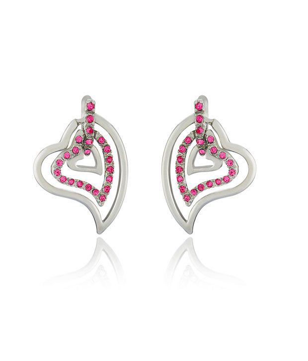 Mahi Rhodium Plated Three Hearts Earrings with Pink Crystals for Women