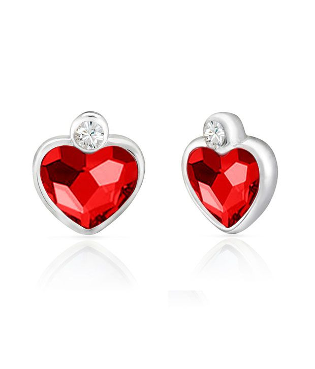 Mahi Rhodium Plated Red Heart Earrings Made with Swarovski Elements for Women ER1194109RRed