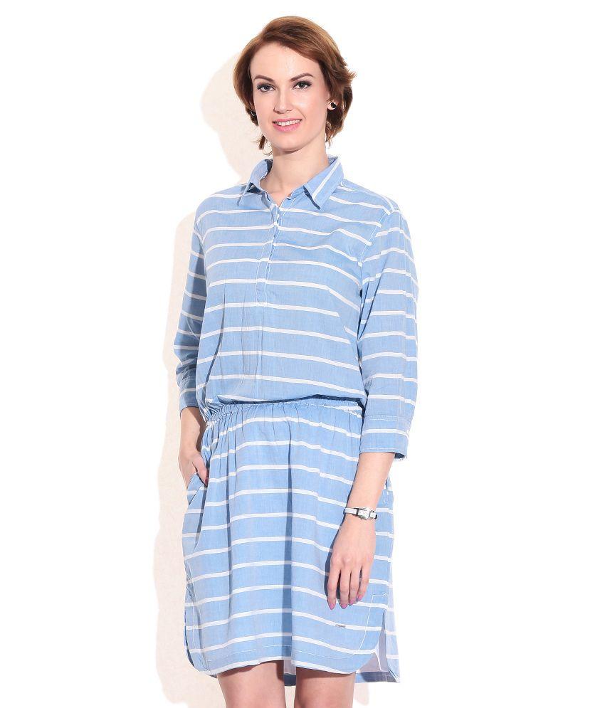Pepe Jeans London Blue Cotton Dresses