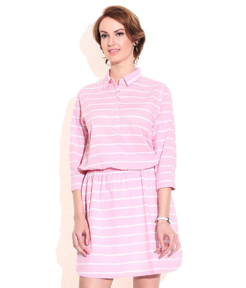 Pepe Jeans London Pink Cotton Dresses