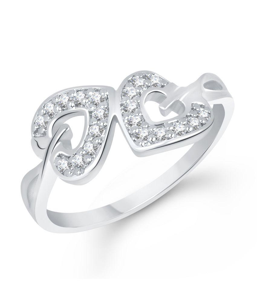 Vk Jewels Innocent Love Heart Rhodium Plated Ring