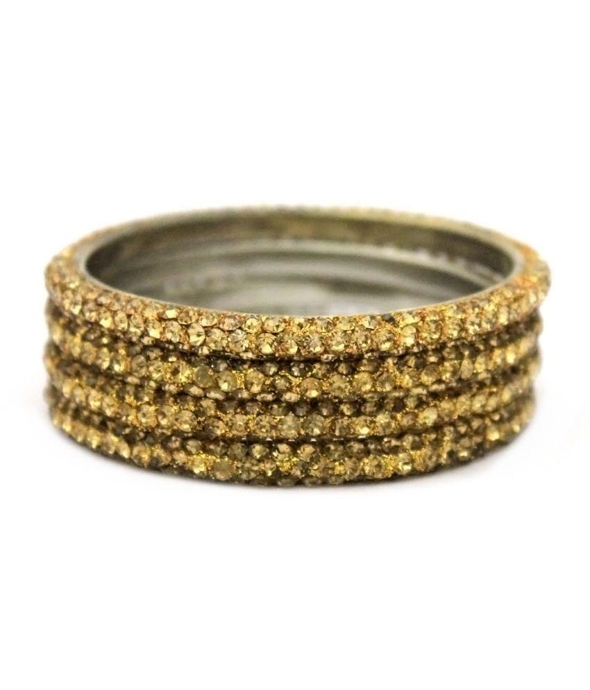 Honey & Earth Global Enterprises Gold 3 Line Lac Crystal Metal Frame Bangles (set Of 4 Pcs)
