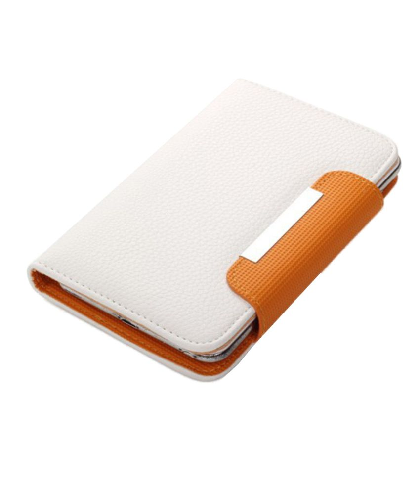 Jo Jo Z Series Magnetic High Quality Universal Flip Case Cover With Stand For Micromax A90 - White And Orange