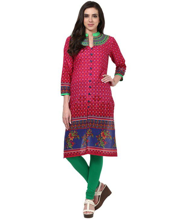 Prakhya Embroidered Pink 3/4 Sleeve Long Cotton Kurta