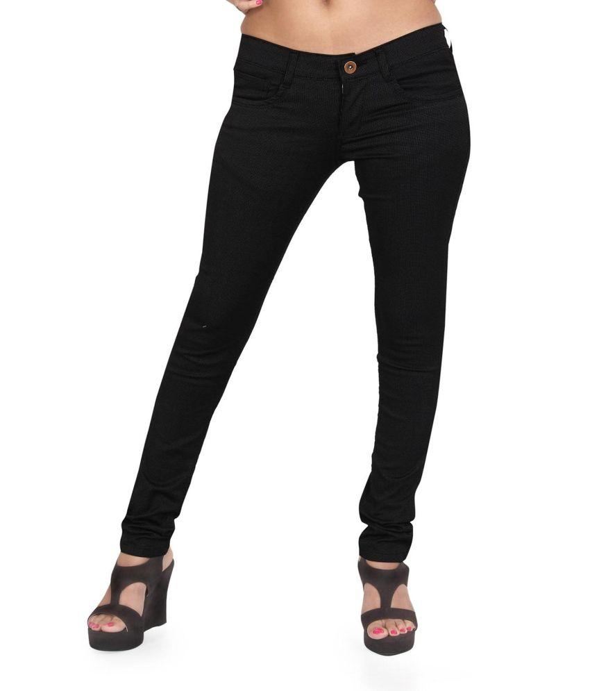 Prankster Black Cotton Lycra Trousers