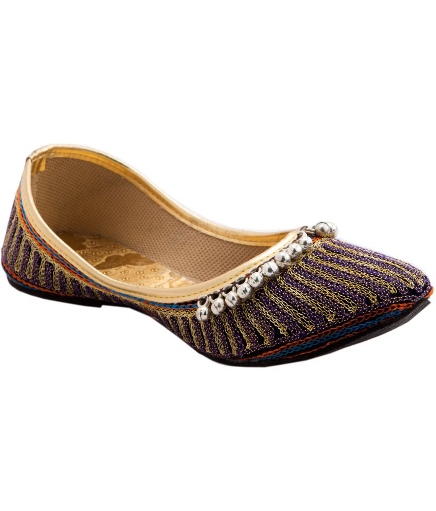 Ridhi Sidhi Purple Leather Festive Flat Women's Ethnic