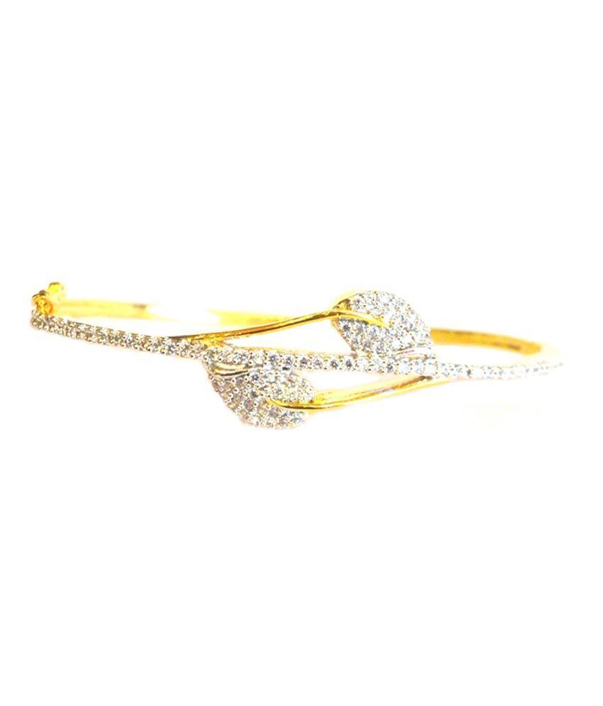 Shona Jewels Silver And Gold Plated American Diamond Single Bracelet