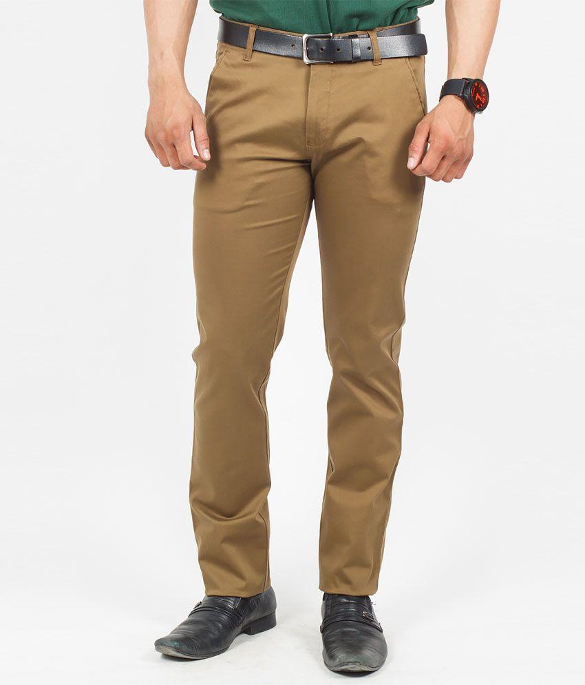 The Vanca Khaki Cotton Lycra Slim Fit Trouser