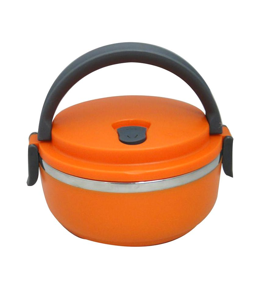 Blossoms 1 Layer Stainless Steel Lunch Box - Orange