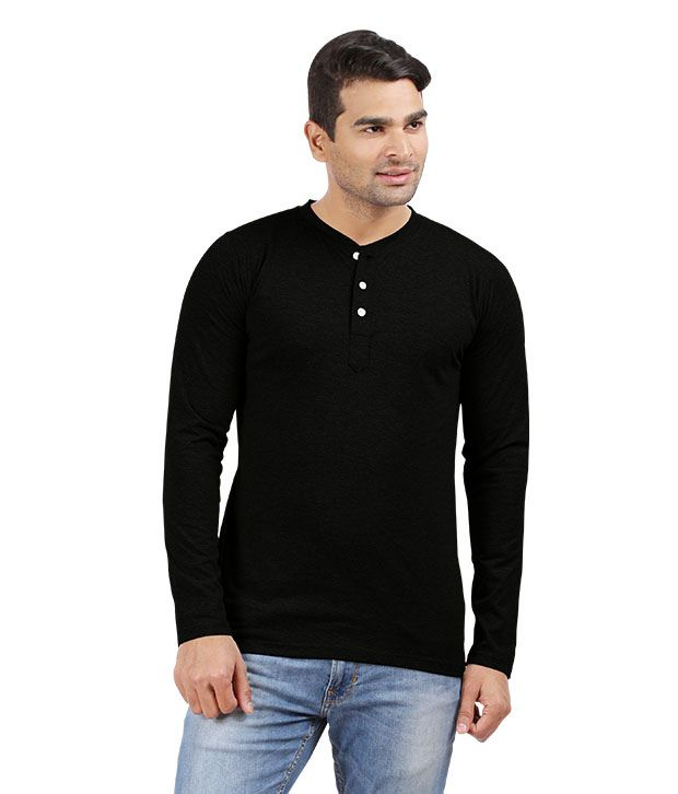 Hbhwear Mens Black Henley Full Sleeve T-shirt