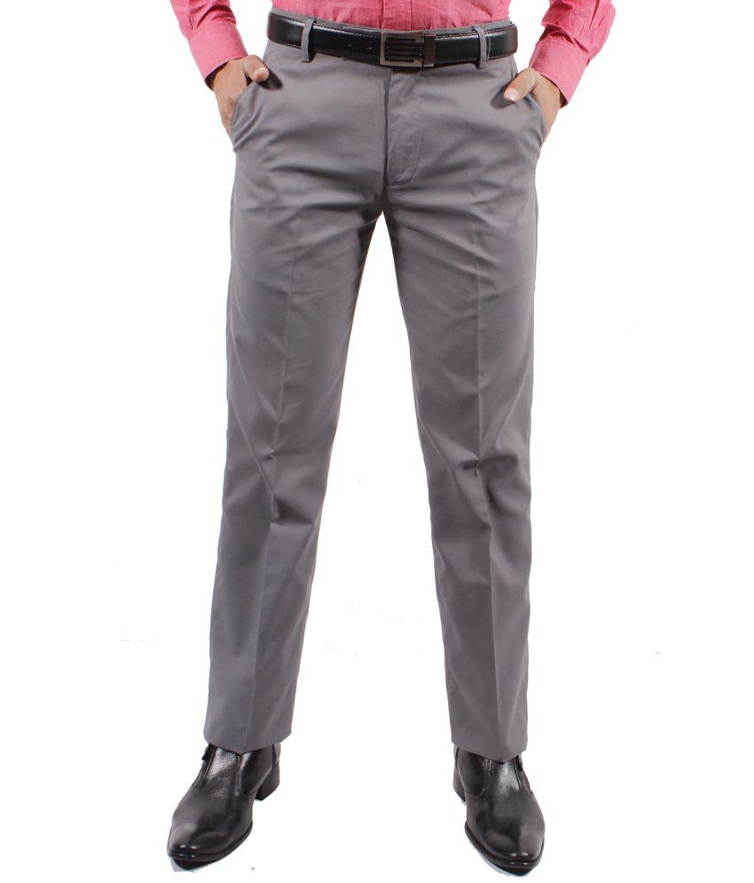 Solemio Grey Slim Flat Trouser
