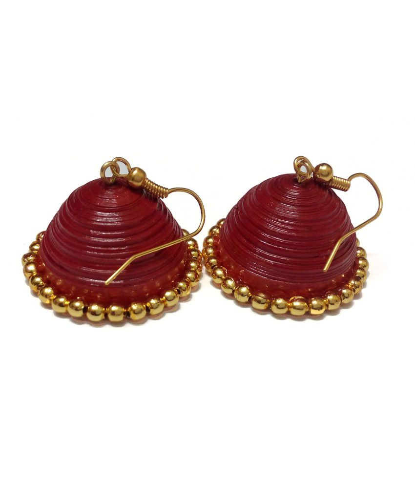 Sreyas Quilling Collections Red Hanging Quilled Jhumkas