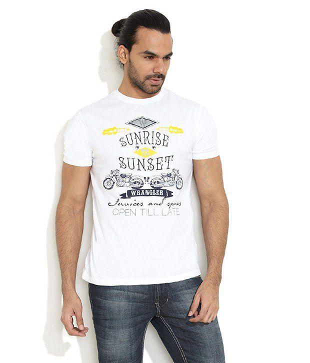 Wrangler White Cotton  T-Shirt