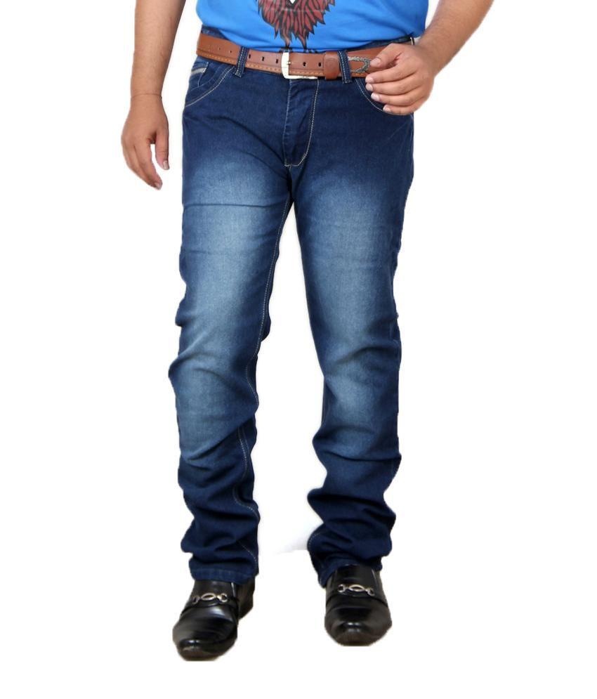 Acro Navy Cotton Regular Fit Faded Men Jeans