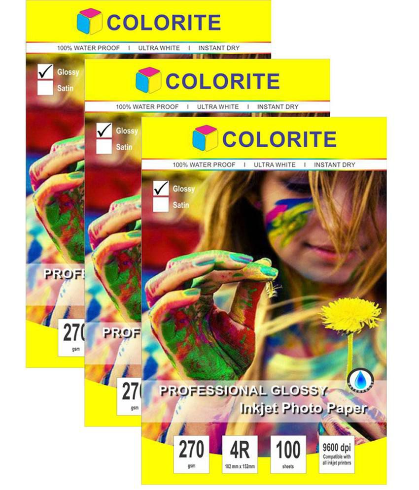 Colorite 270 Gsm 4r (4in X 6in/ Maxi) /100 Sheets X 3 Pack Combo (300 Sheets) Professional Glossy Rc Waterproof Inkjet Photo Paper