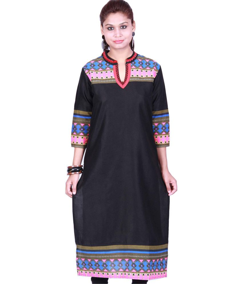 Crazora Black Printed Poly Rayon V- Neck Kurti