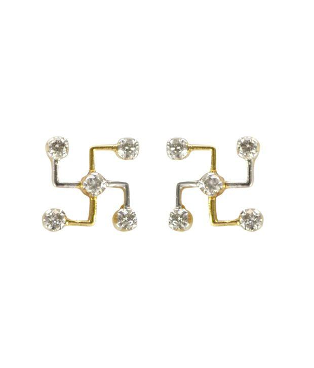 Kataria Jewellers BIS Hallmark 18kt Gold Diamond Studs Earrings
