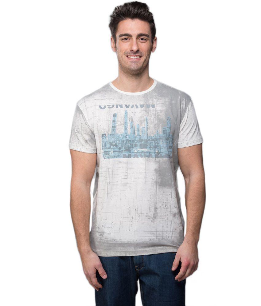 Mavango Gray Printed Cotton Blend Half Sleeves Round Neck Men T-shirt
