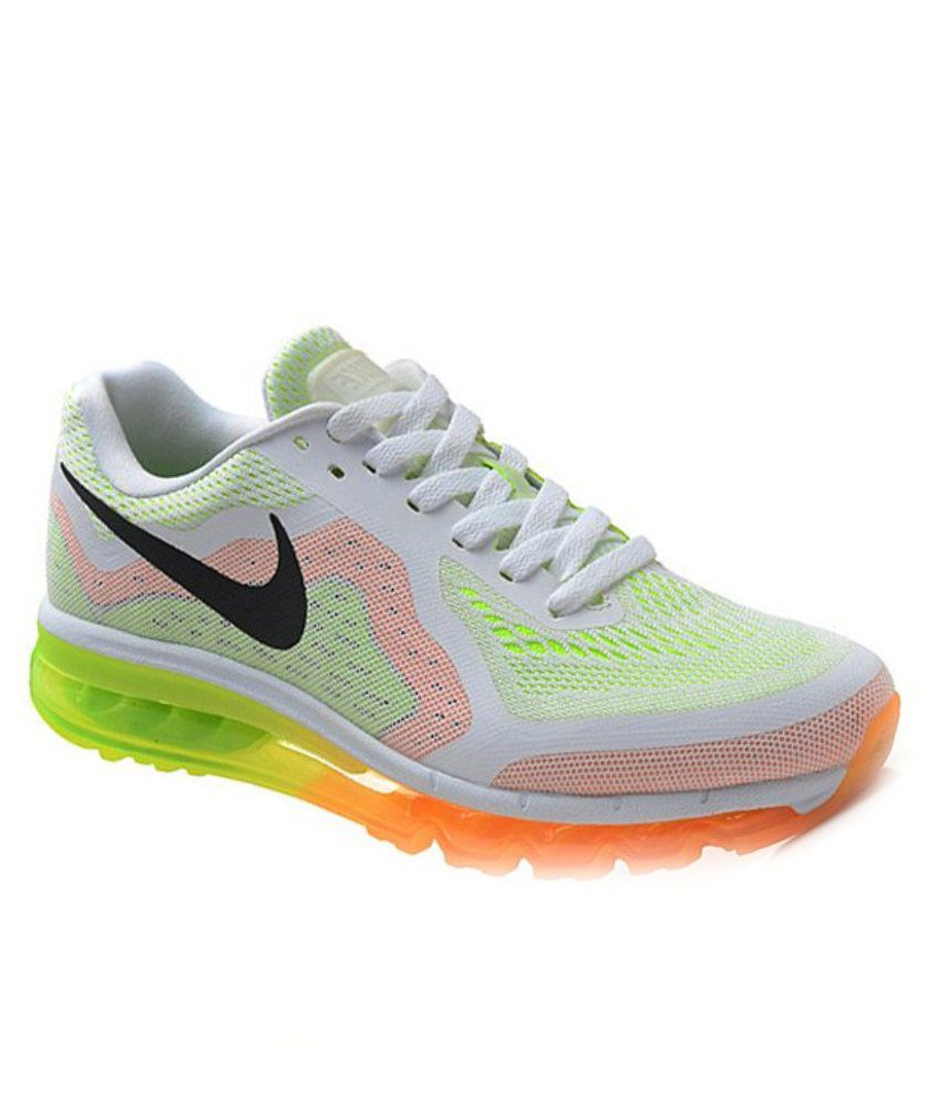 View Order. Free Installation. Nike Airmax 2014 White Orange Green Running  Shoes ...