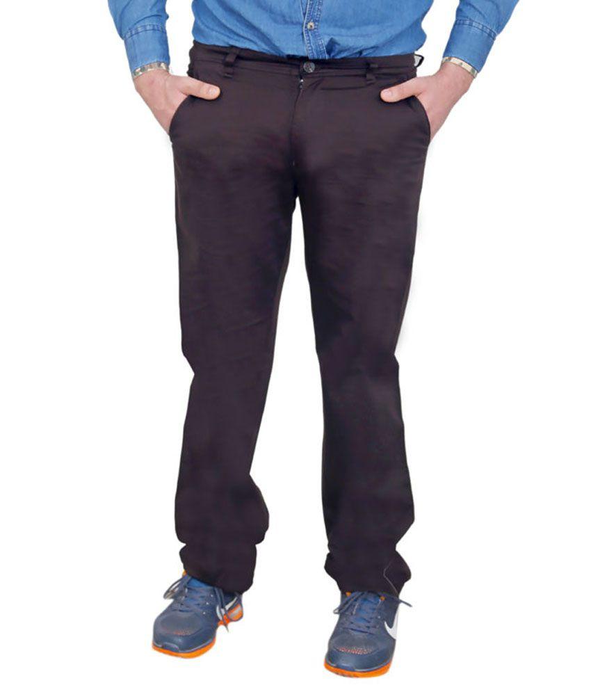 Shree Krishna Garments Cotton Blend Brown Trouser
