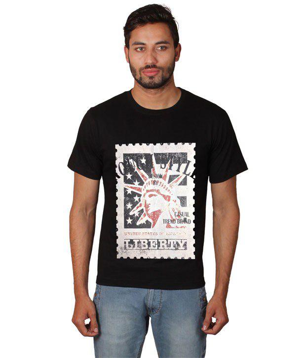 Zovogue Black Cotton Printed T-shirts
