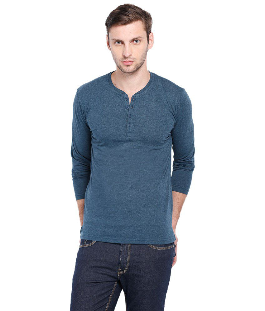 Highlander Blue Full Sleeves Basic Henley T Shirt
