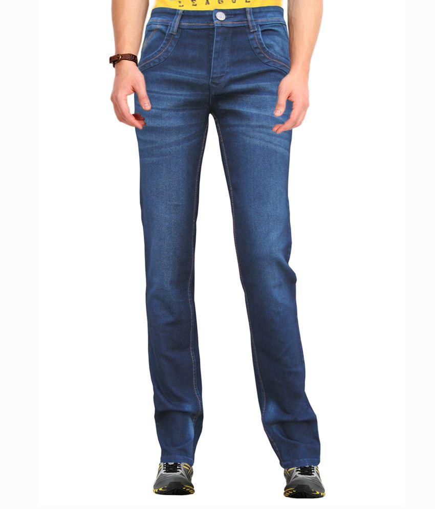 Wp Blue Cotton Blend Slim Fit Jeans For Men