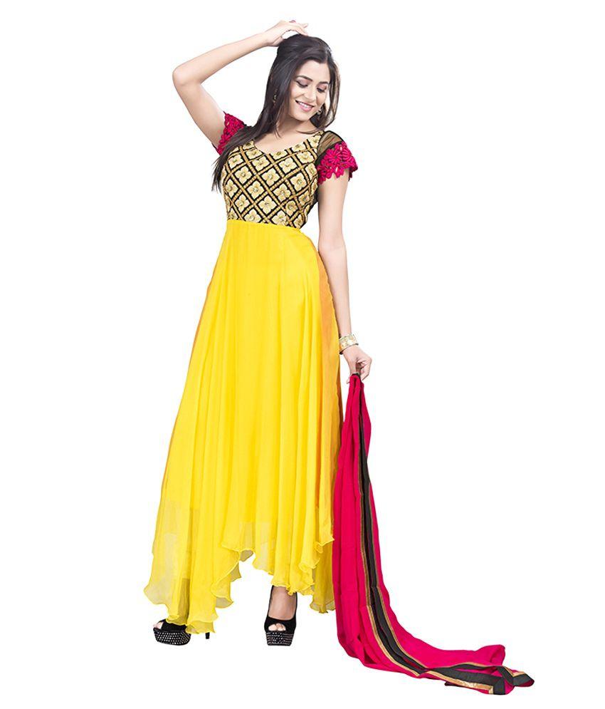Aarna's Collection Yellow Chiffon Asymmetrical Hemline Salwar Suit
