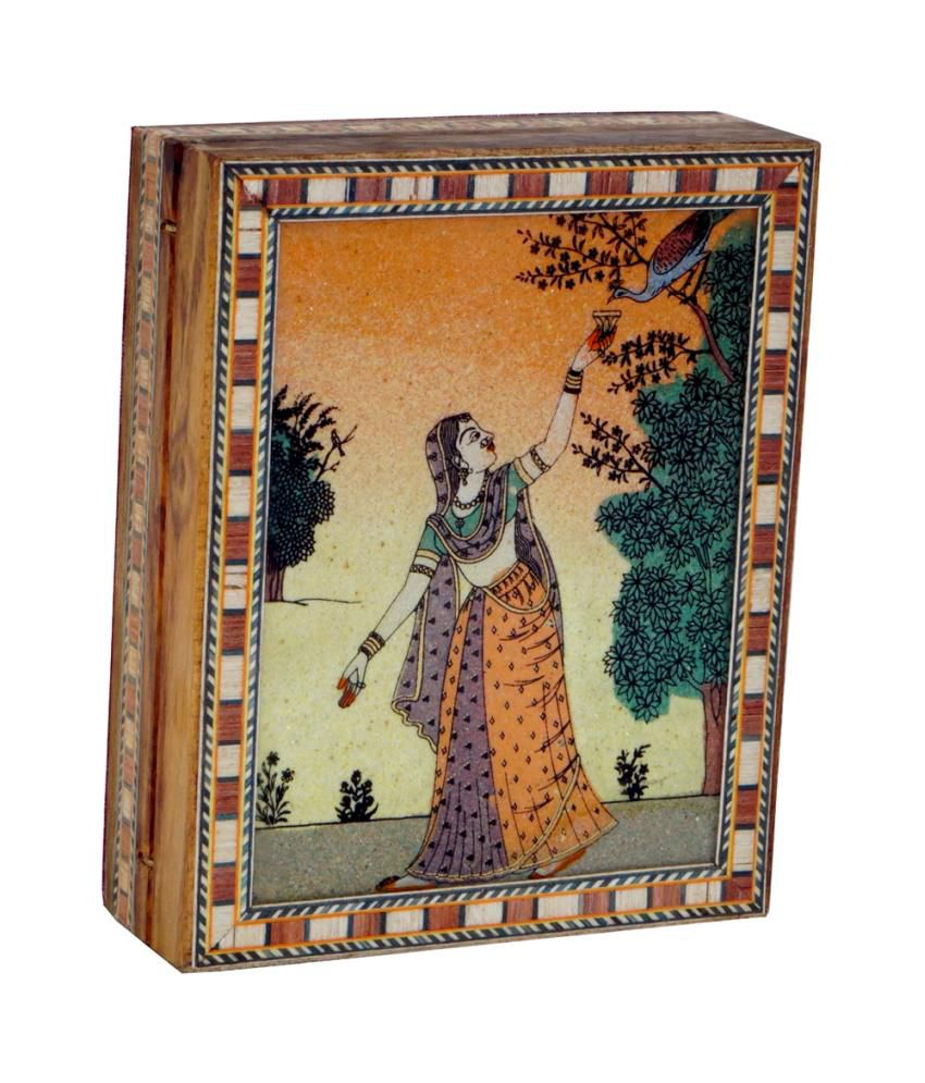 R S Jewels Gem Stone Painting Wooden Box Handmade
