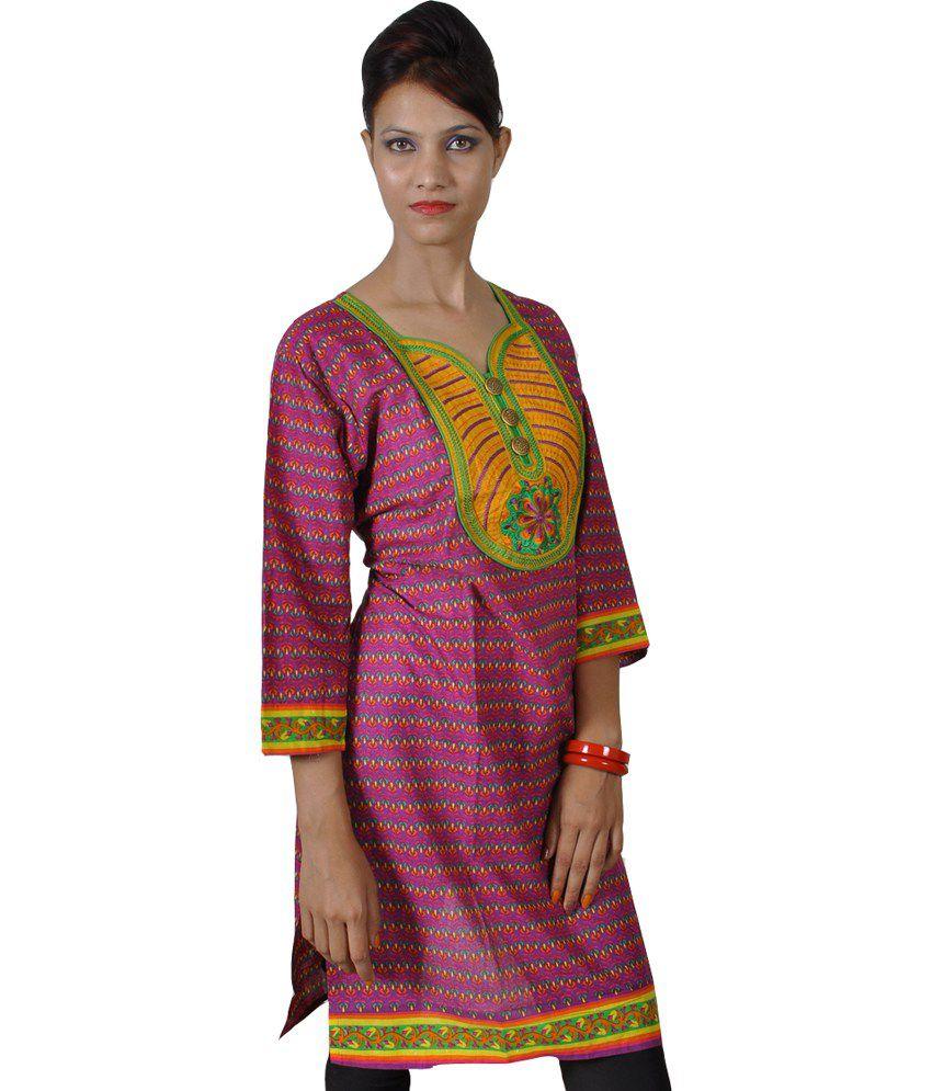 Shubhventa Retail India Pvt Ltd Multi Color Cotton Printed V-neck Women Designer Kurti