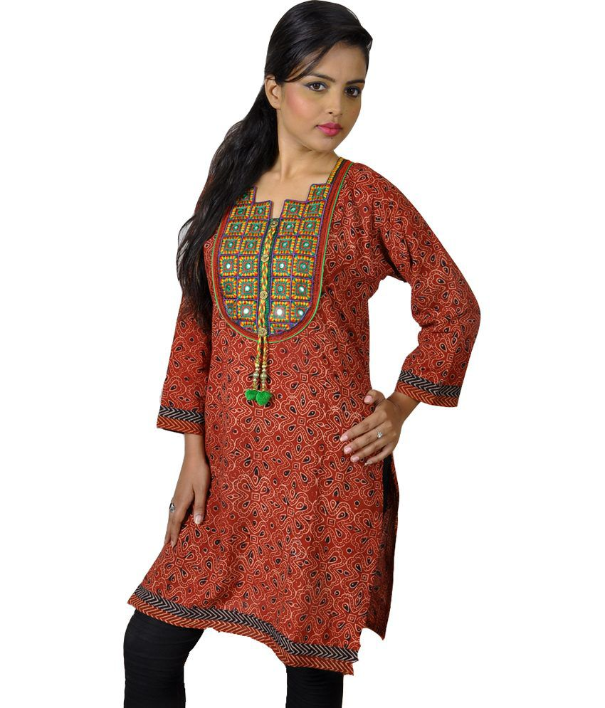 Shubhventa Retail India Pvt Ltd Multi Color Cotton Printed V-neck Women Designer Kurti