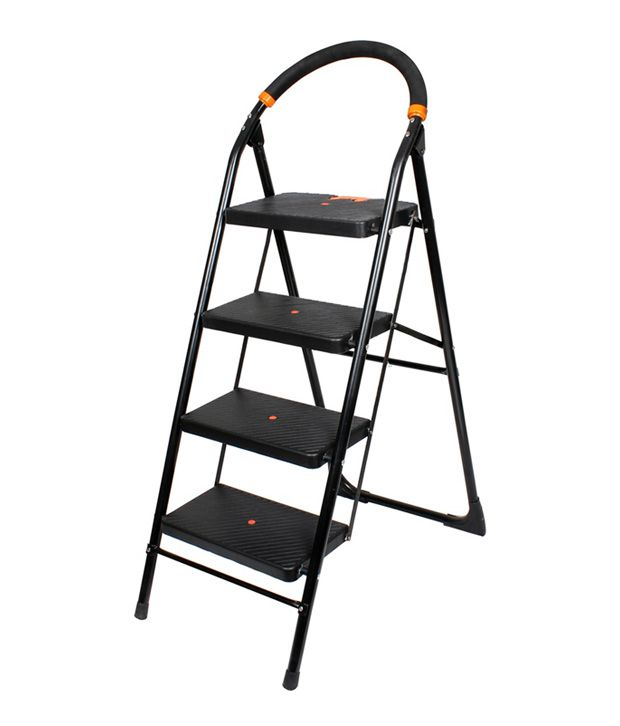 Csm Black Folding 4 Step Ladder With Wide Step Buy Csm